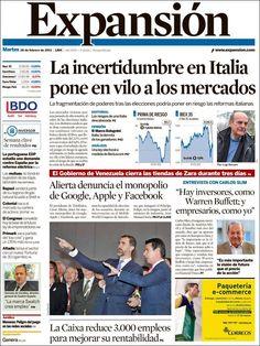 Los Titulares y Portadas de Noticias Destacadas Españolas del 26 de Febrero de 2013 del Diario Expansión ¿Que le parecio esta Portada de este Diario Español?