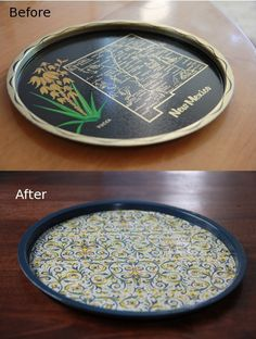 Definitely doing this to the old tray I have laying around, now it will match the new kitchen!