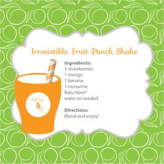 This Irresistable Fruit Punch Shake with Reliv Now will keep you healthy all summer long! #recipe