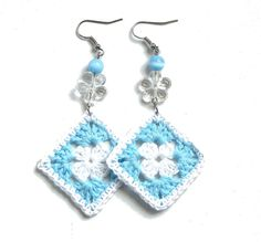 Aqua blue and white crochet square earrings  crochet by zolayka