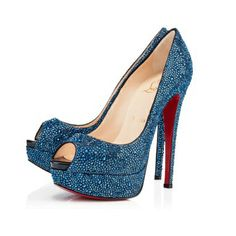 Lady Peep Strass Blue Khol 150mm Pumps Shoes