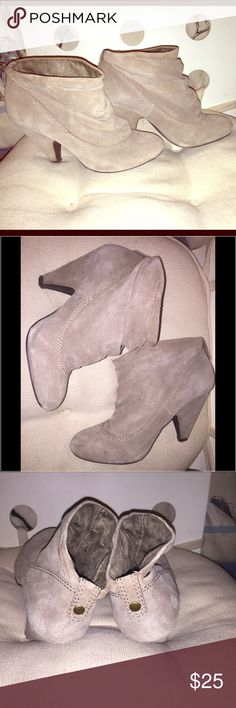 Steve Madden Suede Beige Pull on Booties Steve Madden Suede Beige Pull on Booties (Size 7.5) in great condition (without box) Steve Madden Shoes Ankle Boots & Booties
