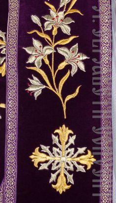 detailed view of the orarion Purple Velvet, Religion, Mantles, Atelier, Religious Education
