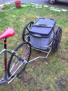 Repurpose old wheelchair into bike trailer