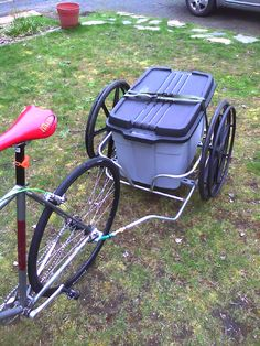 Repurpose old wheelchair into bike trailer