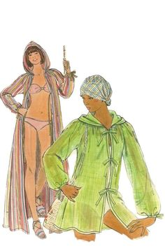Butterick 4874  Vintage 70s  Hooded Cover Up Pattern  by mbchills
