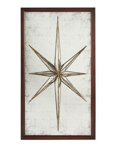 Finished in Jupiter walnut gilt the star is mounted onto an eglomise mirror backboard.
