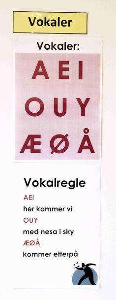 Læringsstøtte til vegg_Vokalregle_Lav kvalitet Danish Language, Barn Crafts, Back 2 School, Teachers Pet, School Subjects, First Grade, Family History, Kids And Parenting, Literacy