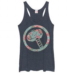 2eb9c94878e099 Use Thors mystical hammer to summon rain for the Marvel Thor Hammer Floral  Print Heather Navy Blue Racerback Tank Top. This fun blue tank top features  Thors ...