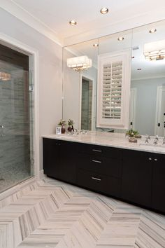 Herringbone carrera marble floor - via Houzz - contemporary bathroom by Anna Baskin Lattimore Design