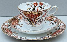 Antique Samuel Radford Imari Tea Cup Trio - Rd No209908 c1893 - (2891)