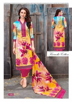 Specification :NAME :Afroza KarachiTOTAL DESIGN :10PER PIECE RATE :310/-FULL CATALOG RATE :3100/-+(5%GST) + Shipping ChargeWEIGHT :8Type :Karachi Dress materialsMOQ :Minimum 10 Pcs.Fabric Description :Top - Cotton karachi print | Bottom - Cotton | Dupatta - Karachi printed cotton Textile Market, Punjabi Dress, Girl Online, Traditional Outfits, Indian Outfits, Fasion, Cotton Dresses, Printed Cotton, Color Combinations