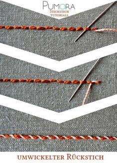 Pumora s stich lexicon whipped back stitch umwickelter rueckstich rückstich de point de piqûre surjeté fr punto pespunte enrollado es embroiderystitchestutorials Embroidery Stitches Tutorial, Sewing Stitches, Hand Embroidery Patterns, Embroidery Techniques, Machine Embroidery, Sewing Techniques, Crochet Stitches, Silk Ribbon Embroidery, Crewel Embroidery