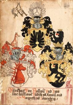 The large coats of arms of Burkhart von Hallwil and his two wives Judith von Anwil and Margaretha von Löwenberg (cover inside) -- «The Housebook of the Lords of Hallwil», Zürich, 1550-1600 [Schweizerisches Nationalmuseum, SH 228 - http://www.e-codices.unifr.ch/en/list/one/snm/SH000228] -- Presentation at: http://www.e-codices.unifr.ch/en/list/one/snm/SH000228