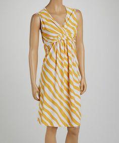 Love this Yellow Stripe Twist-Knot Dress - Women by jon & anna on #zulily! #zulilyfinds