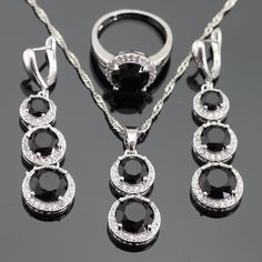 Round  Black White Cubic Zirconia Jewelry Sets For Women Silver Color Necklace Pendant Long Long Earrings Rings Free Gift Box