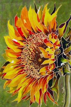 A sunflower painted on silk by Michele Shute in 2014: