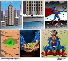 """""""Superman may lift the ENTIRE Empire State Building, but he can't even lift up a super-small green rock(weak!)"""""""