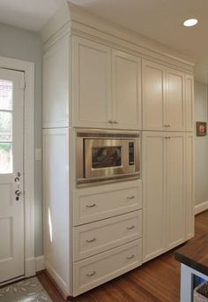 Best Built In Microwave Cabinet Inspirations For Beautiful Kitchen – pantry redo Pantry Cupboard Designs, Kitchen Pantry Cupboard, Pantry Design, Kitchen Redo, New Kitchen, Kitchen Remodel, Kitchen Dining, Kitchen Cabinets, Wall Pantry