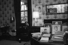 American author and essayist Gore Vidal sits in front of a window in his home, Edgewater, on the Hudson River, Barrytown, New York, April 1960.