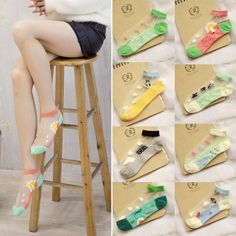Fashion Women Low Cut Glass Silk Stretch Transparent Crystal Silk Socks Cute | Clothing, Shoes & Accessories, Women's Clothing, Hosiery & Socks | eBay!