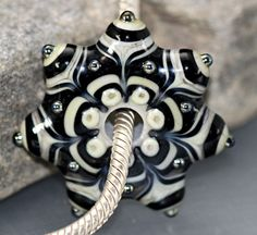 Star Disk, Bead , Handmade Lampwork Glass Beads