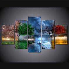 Buy Unframed HD Printed Fantasy Nature Painting Canvas Print Room Decor Print Poster Picture Canvas Wall Art Painting at Wish - Shopping Made Fun Poster Pictures, Wall Art Pictures, Canvas Pictures, Pictures To Paint, Nature Pictures, Cross Paintings, Nature Paintings, Abstract Paintings, Art Paintings
