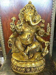 "Dancing Ganesha Brass Statue Home Decor Collectible Hinduism Sculpture Idol 10.5"" Mogul Interior http://www.amazon.com/dp/B00VQ3AA14/ref=cm_sw_r_pi_dp_LcyDvb0QNE05K"