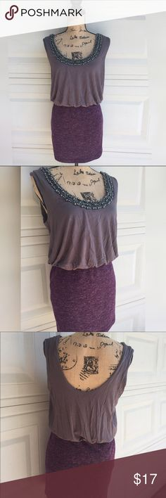 Beaded purple gorgeous sleeveless Dress Size L sleeveless beaded dress in perfect condition. Can be worn with a blazer or with heels for a night out or casually Dresses Mini