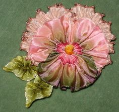 ribbonwork pansies - Google Search