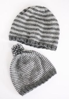 Few things are cuter than a father and son wearing matching knit hats. This striped knitted hat pattern makes the perfect gift for the men and boys in your life. The on-trend style ensures this free knitting pattern will be a big hit. Kids Knitting Patterns, Knitting For Kids, Free Knitting, Knitting Projects, Baby Knitting, Crochet Patterns, Sweater Patterns, Knitting Needles, Stitch Patterns