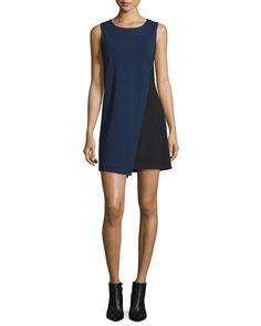 DIANE VON FURSTENBERG Livvy Asymmetric Colorblock Dress, Midnight/Black. #dianevonfurstenberg #cloth #