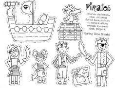 P wie Piraten - Paper puppets (pirate, cowboy & fairy) Free Printables Pirate Fairy, Pirate Life, Pirate Birthday, Pirate Theme, Pirate Activities, Activities For Kids, Pirate Coloring Pages, Pirate Crafts, Paper Puppets