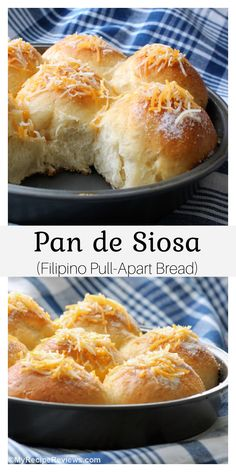Soft, fluffy, barely sweet rolls topped with butter, sugar and a sprinkle of cheese. Delicious and different. Filipino, Pull Apart Bread, Food Reviews, Rolls Recipe, Dry Yeast, Cheddar Cheese, My Recipes, Muffins, Oven