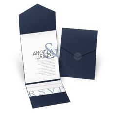 Modern Marvel Pocket Wedding Invitation - Navy at Invitations By Dawn