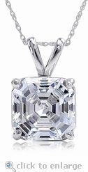 The Ziamond Cubic Zirconia Classic Solitaire Pendant features a 1.5 carat asscher cut in 14k white gold. #ziamond #cubiczirconia #asschercut #classicsolitairependant #14kwhitegold #pendant #basketset