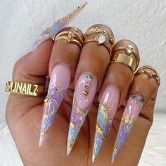 Bling Acrylic Nails, Best Acrylic Nails, Acrylic Nail Designs, Diy Nails, Nail Nail, Nail Tech, Manicure, Long Stiletto Nails, Long Nails
