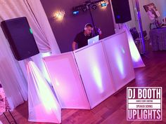 DJ booth setup for weddings. Uplights, Speaker Scrims, Dance Floor Lighting. www.djdannygarcia.com
