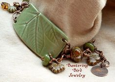 Autumn Leaf Pottery Bracelet withLampwork Bantering Bird Jewelry...