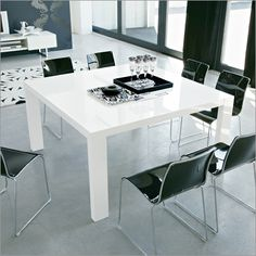Modern Square Dining Table In Glossy White