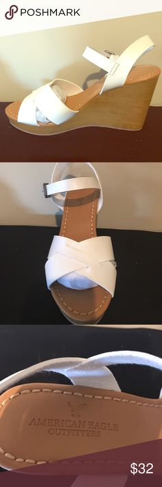 🌟Brand New Strappy Wooden Wedge🌟 All white Strappy Wedge 👡 American Eagle Outfitters Shoes Wedges