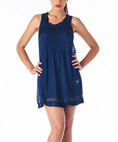 Another great find on #zulily! Navy Pleated Silk Sleeveless Dress #zulilyfinds
