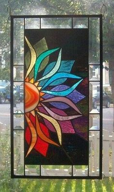 With Vivid Intensity Stained Glass Window Panel - i love stained glass art work Stained Glass Quilt, Faux Stained Glass, Stained Glass Designs, Stained Glass Panels, Stained Glass Projects, Stained Glass Patterns, Leaded Glass, Glass Painting Designs, Window Glass