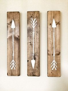 Rustic White Wooden Arrows 3 Piece Set par cherrytreegallery