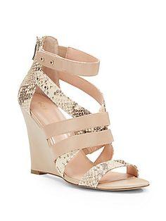 Emeliah Mixed-Media Wedge Sandals
