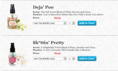 This is just a tiny example of the brilliant product names Poo-Pourri have got for their products. I have never had such fun scrolling through product pages - and definitely have never scrolled through product pages for toilet spray before! Toilet Spray, Poo Pourri, White Flowers, Fragrance, Names, Homemade, Business, Fun, Products