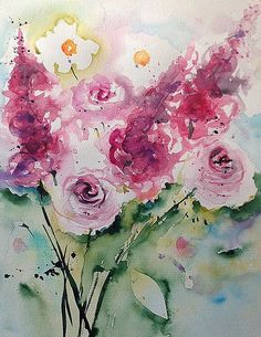 Pink Flowers Art Print featuring the painting pink Flowers 1 by Britta Zehm