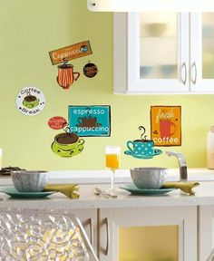 Decorate your kitchen or the office coffee station with these fun repositionable coffee themed wall stickers. These colorful and trendy cafe wall decals will make any space a little more colorful! The decals are repositionable and reusable, and Cafe Interior, Interior Exterior, Interior Walls, Bathroom Interior Design, Buy Kitchen, Kitchen And Bath, Kitchen Dining, Big Wall Stickers, Wallpaper Stickers