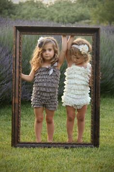 Cute photo idea, large frame with children holding it -- Boutique Style Gray Lace Petti Romper - Medium. $15.00, via Etsy.