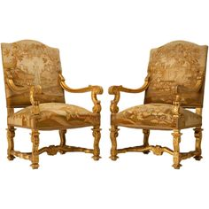 c.1880 Original French Gilt Louis XIV Style Throne Chairs